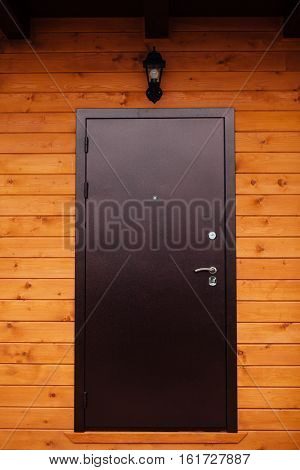 house entry door on wooden house