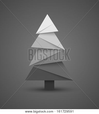 Christmas creative paper abstract tree. Vector illustration.