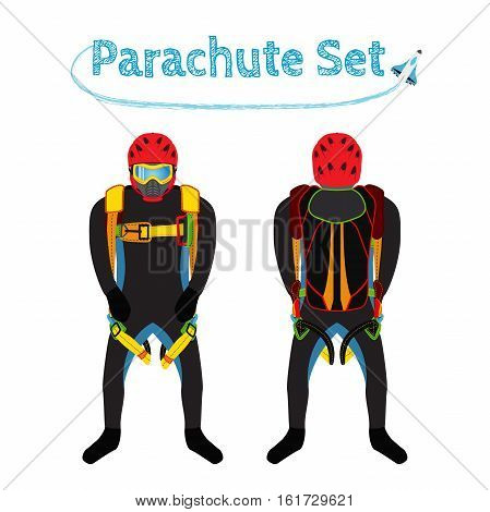 Parachuter with parachute pack - front and back. Bright extreme sport equipment for skydiving parachuting paragliding. Vector flat style.