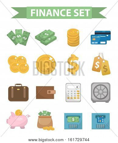 Money and Finance icons, modern flat style. Finance icons collection isolated on white background. Money set for Web and Mobile Application. Bank objects and items. Vector illustration, clip-art.
