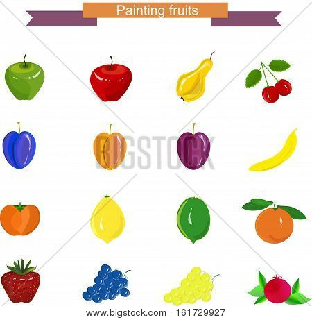 Hand drawn painting fruits: apples, pear, grapes, cherry, banana, pomegranate, strawberry, persimmon, lime, lemon, apricot, orange on white, stock vector illustration
