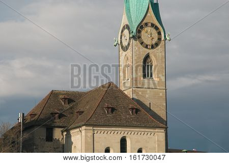 Details of the famous Fraumunster church tower of Zurich in Switzerland