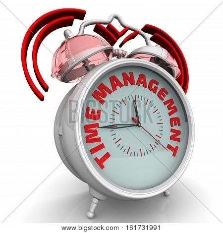 Time management. The alarm clock with an inscription. Alarm clock with the words