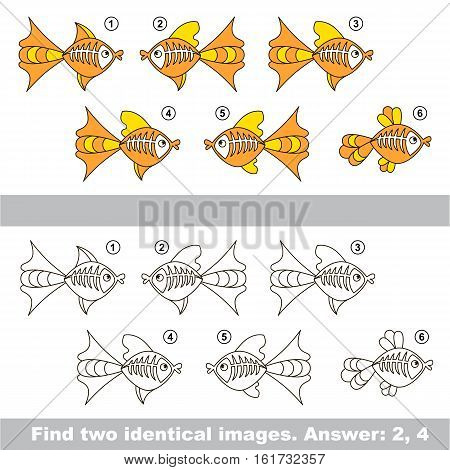 The design difference. Vector visual game for kid education. Simple level of difficulty. Easy educational game. Task and answer. Find two similar X-ray Fishes.