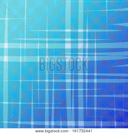 Abstract blue halftone background with uneven stripes. Vector background of intersecting lines