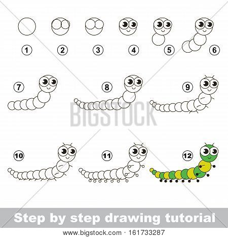 Drawing tutorial for children. Easy educational kid game. Simple level of difficulty. Kid education and gaming. How to draw Centipede.