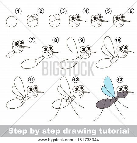 Drawing tutorial for children. Easy educational kid game. Simple level of difficulty. Kid education and gaming. Indoor games for children. How to draw The Mosquito.