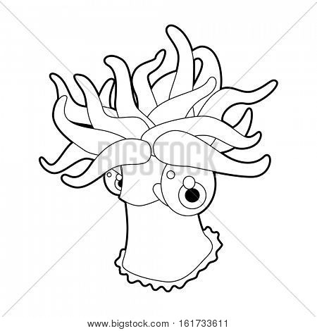 coloring pattern page. Funny cute cartoon sea animals. Sea Actinia