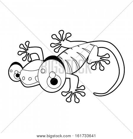 coloring pattern page. Funny cute cartoon animals.  Reptiles. Gecko