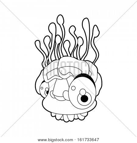 coloring pattern page. Funny cute cartoon sea animals. Jelly fish