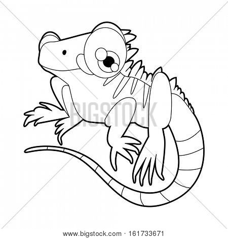 coloring pattern page. Funny cute cartoon animals.  Reptiles. Iguana