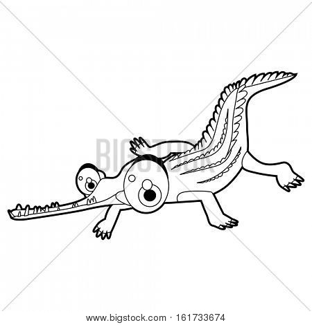 coloring pattern page. Funny cute cartoon animals.  Reptiles. Alligator