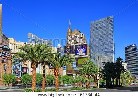 LAS VEGAS, NV, USA - October 30, 2015: Famous New York New York casino-hotel on October 30, 2015 in Las Vegas . The  hotel recreates the famous New York skyline