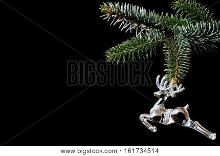 Spruce Branch With A Reindeer Ornament On Black