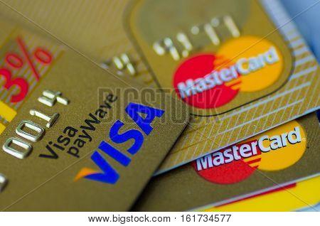 Frankfurt am Main, Hessen, Germany - December 04, 2016: Stack of Visa and Master credit cards