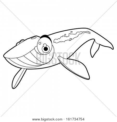 coloring pattern page. Funny cute cartoon sea animals. Whale