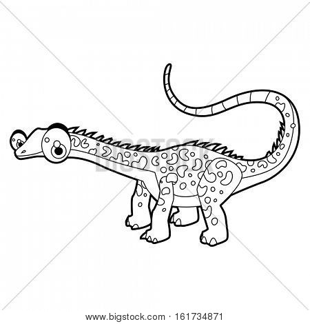 Coloring cool cartoon funny dinosaur illustration. Apatosaurus