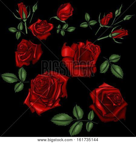 Embroidery pattern with roses flowers. Floral embroidery background and pattern embroidery with rose. Vector illustration