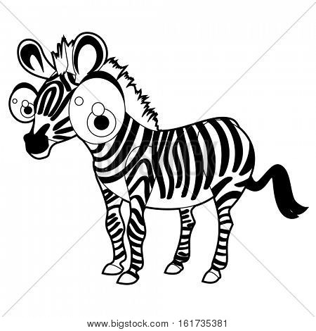 Coloring cute cartoon animals collection. Cool funny illustration of Zebra