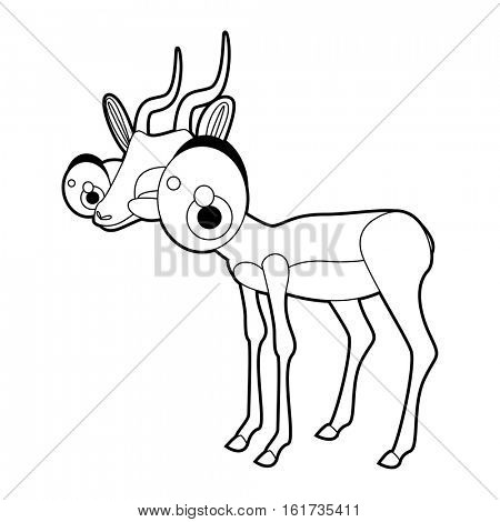 Coloring cute cartoon animals collection. Cool funny illustration of Gazelle