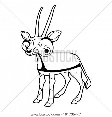 Coloring cute cartoon animals collection. Cool funny illustration of Oryx antelope