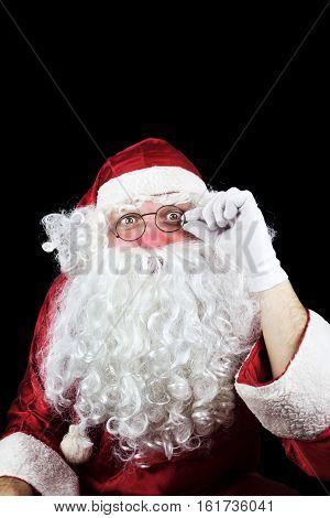 Santa Claus Portrait Isolated On Black Background