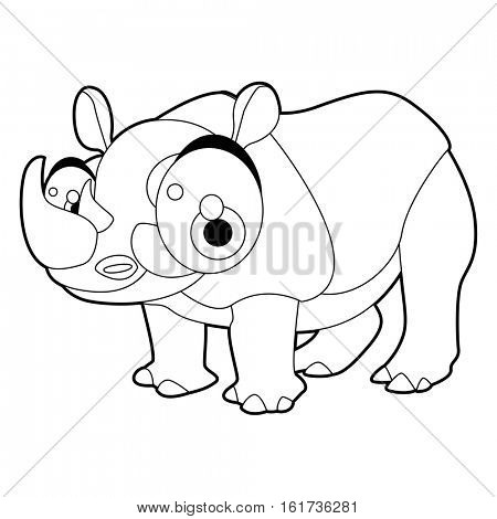 Coloring cute cartoon animals collection. Cool funny illustration of Rhinoceros