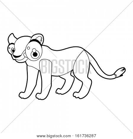 Coloring cute cartoon animals collection. Cool funny illustration of Lioness
