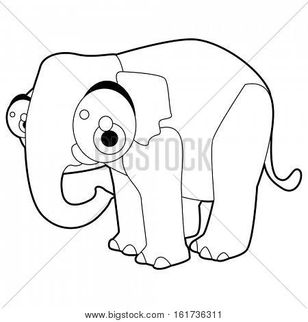 Coloring cute cartoon animals collection. Cool funny illustration of Indian Elephant