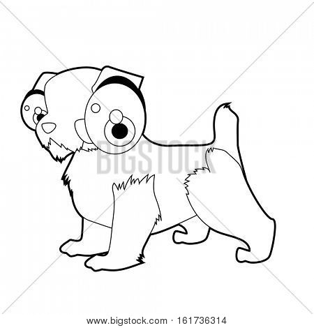 vector funny coloring animal dog breeds character book collection. Cool cute cartoon flat thin line style illustration of Jack Russel Terrier