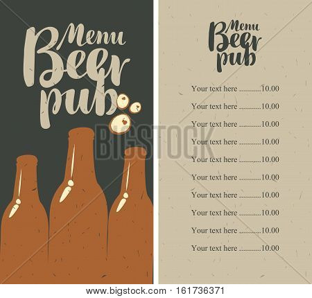 menu with price list for a pub with a bottle of beer