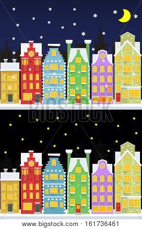 Old snow covered city street under snowfall. Two flat style banners. Vector