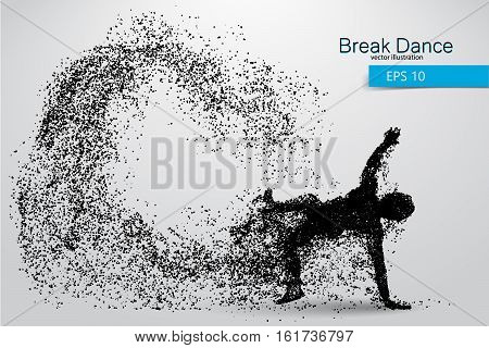 Silhouette of a break dancer from particles. Background and text on a separate layer, color can be changed in one click.