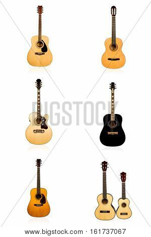 Set of six different classical acoustic guitar isolated on white background