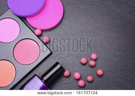 Set Of Blush Powder, Powder Balls, Nail Polish And Sponges