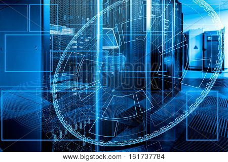 futuristic tech scheme on background of fantastic symmetric number mainframes
