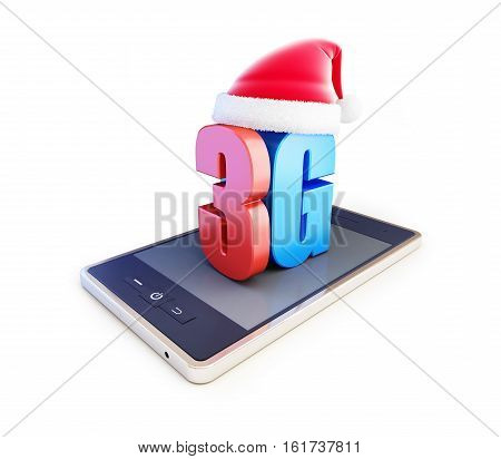 3g smartphone ang text 3G Santa Hat 3G cellular high speed data wireless connection. 3d Illustrations on white background