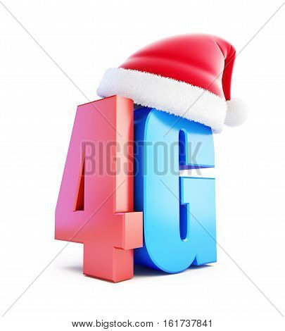 4G sign Santa Hat 4G cellular high speed data wireless connection. 3d Illustrations on white background