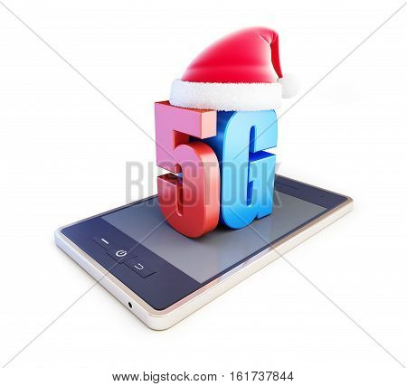 5G smartphone ang text 5G Santa Hat 5G cellular high speed data wireless connection. 3d Illustrations on white background