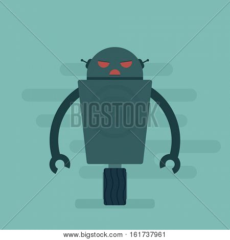 Evil robot. Flat character.