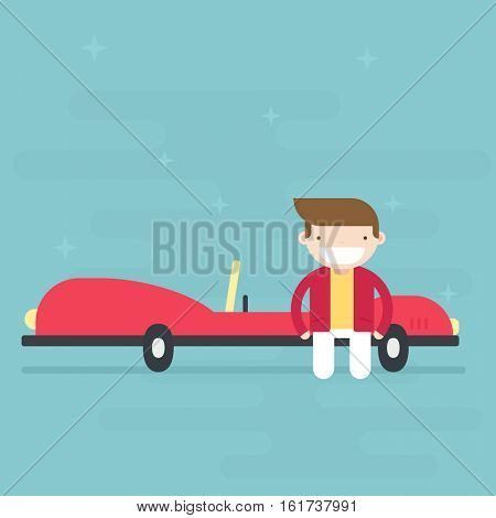 young man standing near luxury car. Flat character.