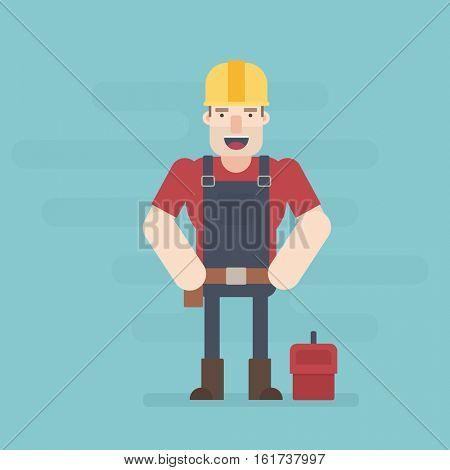 Builder. Flat character.