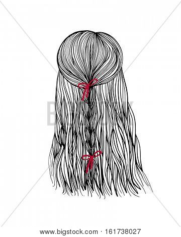 Woman head back view with bride hair and red bow. Hand-drawn cartoon hairdressing sketch. Doodle drawing. Vector illustration.