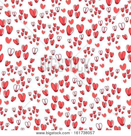 Cute seamless vector pattern from pink repeating hearts. Holiday romantic texture can be used as a textile design or wrapping paper