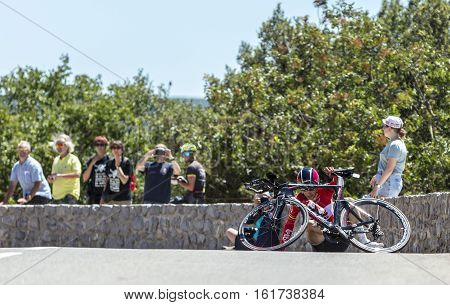 Col du Serre de TourreFrance - July 152016: The French cyclist Tony Gallopin of Lotto-Soudal Team falls during an individual time trial stage in Ardeche Gorges on Col du Serre de Tourre during Tour de France 2016.