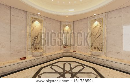 Modern marble Turkish bath 3D design and rendering
