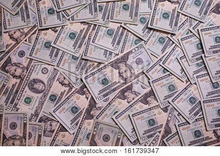 background of the money twenty dollar bills front side face back side. background of dollars millionaire get rich get paid
