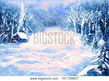 Winter landscape with snow covered wooden hut in wild forest. Hand drawn illustration
