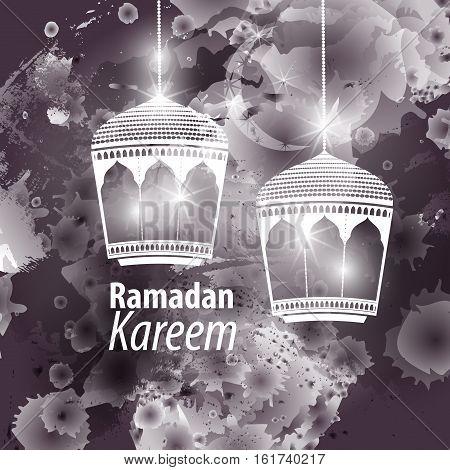 Watercolor black blob illustration Ramadan kareem mubarak. Beautiful islamic stylized lantern traditional greeting card wishes holy month and karim muslim. Star and moon with lamp light.