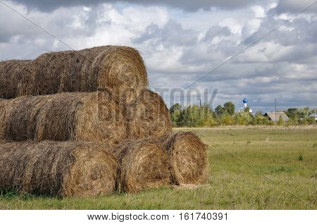 Bales of hay. Rural landscape in Russia.